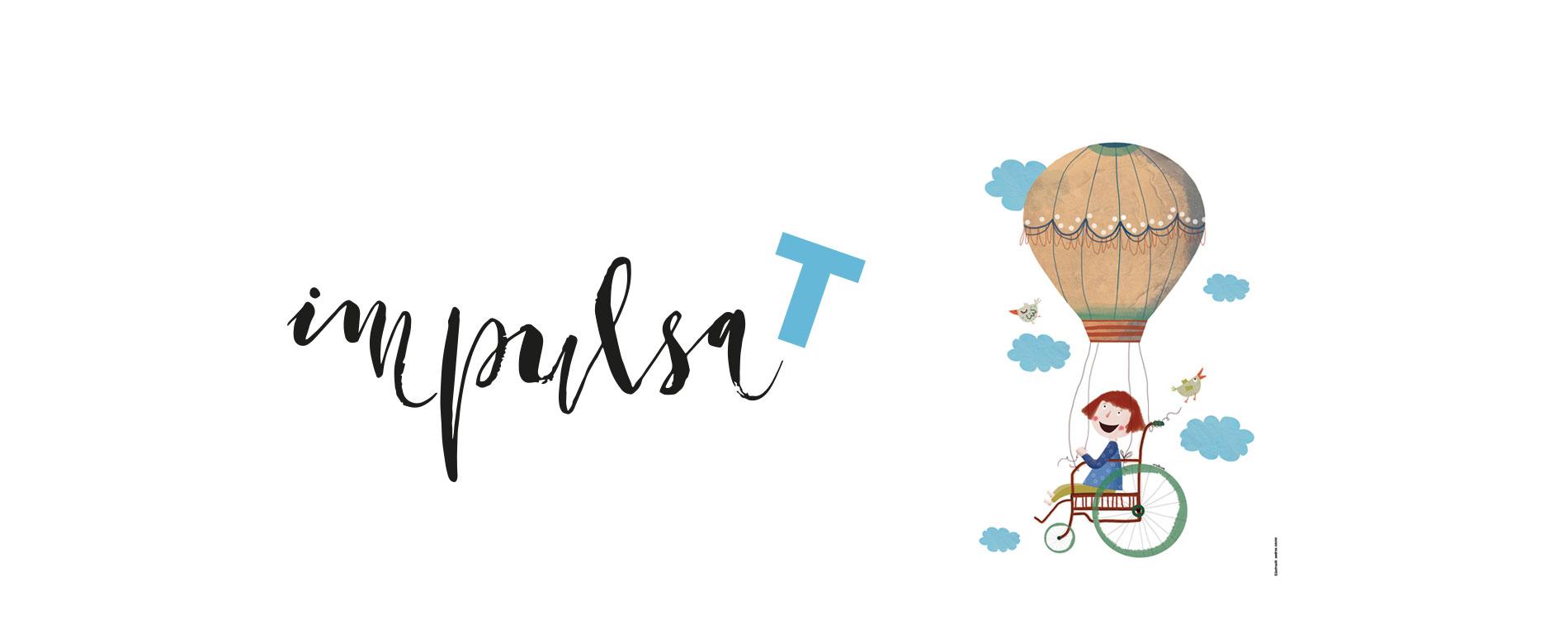 Logo d'Impulsate amb una nena en cadira de rodes volant en globus.