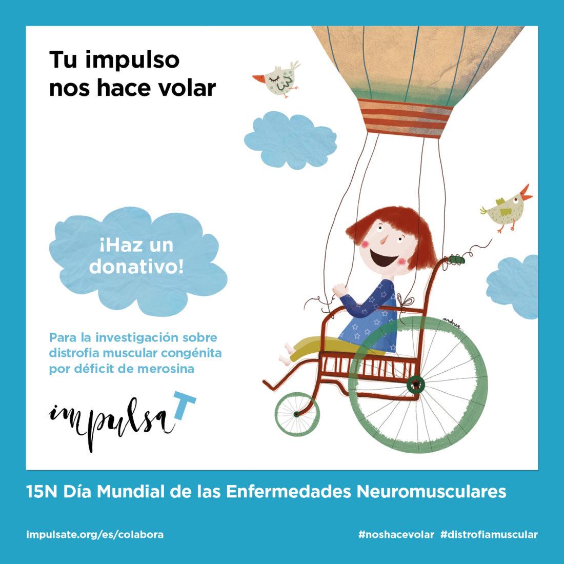 """Una noia vola en globus i el títol diu: """"Dia Mundial de les Malalties Neuromusculars""""."""