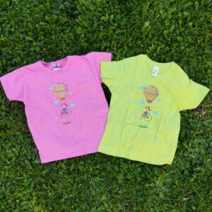 samarreta infantil rosa i verda